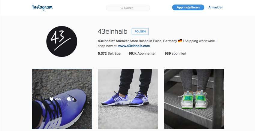 Instagram von 43einhalb