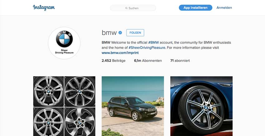 Instagram von BMW