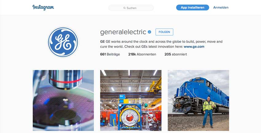 Instagram von GE