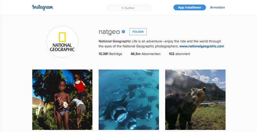Instagram von National Geographic