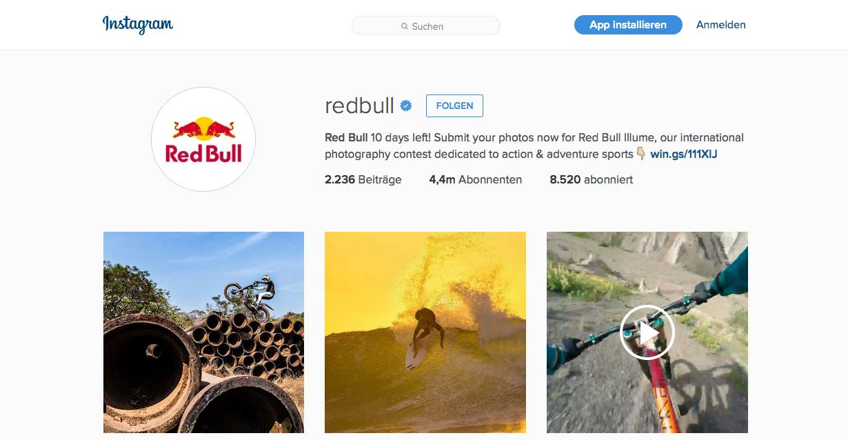 Instagram von Red Bull