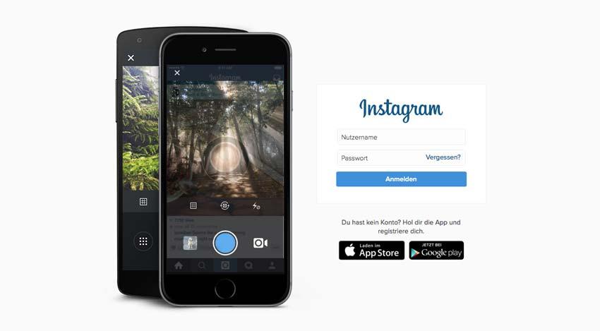 Startseite von Instagram